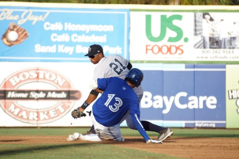 Blue Jays prospect Emilio Guerrero slides safely into second with a double (Eddie Michels photo)