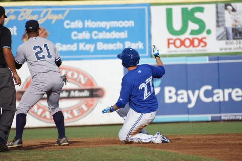 Blue Jays prospect L.B. Dantzler doubles to left driving in two (Eddie Michels photo)