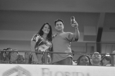 Rocket Sports & Entertainment Network was supported in the crowd as Rick Sassone enjoys a Labatt's Blue with the Hockey Hottie (photo Chuck Green / Cg Photography)