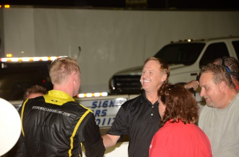 That's one proud Dad. Rusty Wallace congratulates son Steven. (photo Rodney Meyering / RSEN)