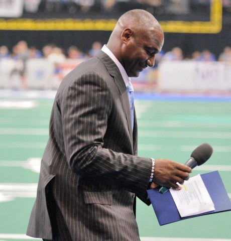 Pro Football Hall of Fame 2014 Inductee and Storm owner Derrick Brooks was on hand to thank fans for their support during the 2014 season. (photo Chuck Green / Cg Photography)
