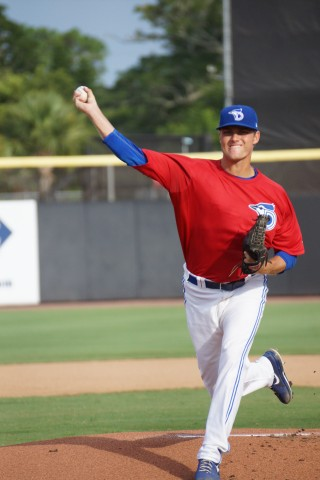 Right-hander Ben White threw seven solid innings on Friday allowing one run on seven hits while walking one and striking out six as Dunedin beat Charlotte 2-1 in Florida State league action. (Eddie Michels/Photo)