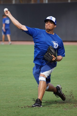 "DUNEDIN, FLA.--Toronto Blue Jays prospect Roberto Osuna said, ""I feel great"", after yesterday's session of throwing on flat ground.  Osuna has an anniversary to celebrate today as it has been one year since his ""Tommy John Surgery"". (Eddie Michels/Photo)"