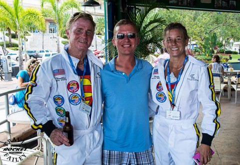 Tom Damico from Keep Tampa Bay Beautiful is flanked by drivers Gene and Paula Weeks (photo by Travis Failey)