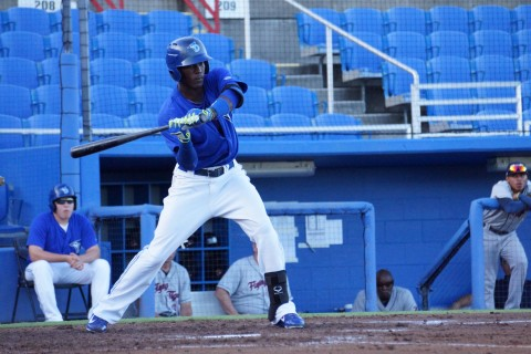 Gustavo Pierrehas hit .260 this season with 24 doubles, eight home runs and 43 RBI in 107 games between the Dunedin of the Florida State League (A) and New Hampshire of the Eastern League (AA) (Eddie Michels photo)