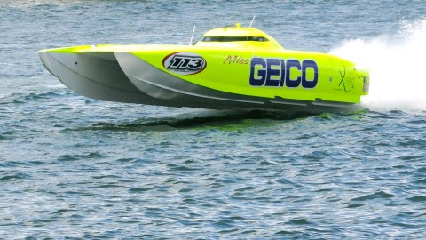2400 Horsepower is more than ample to get the 44' Victory hull of the Miss Geico on top of the water, This is what 180MPH on the water looks like. (Chuck Green / Cg Photography photo)