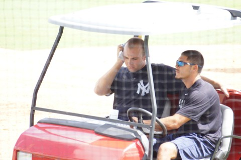 NY Yankee Eric Jagielo took a bad rap on the head, but appears to be ok as he is heading for further evaluation (EDDIE MICHELS PHOTO)