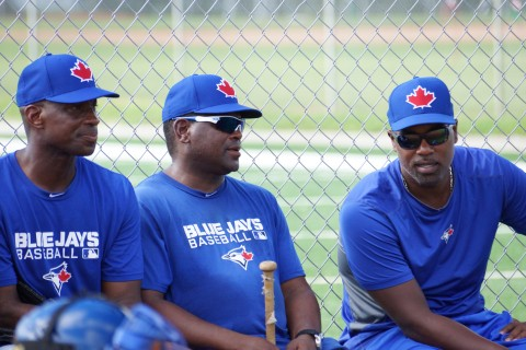 "The Toronto Blue Jays Instructional League camp has a number of very qualified instructors to help with developing their prospects.  From left to right at Fred McGriff, Tim ""Rock"" Raines and Carlos Delgado. (EDDIE MICHELS/PHOTO)"