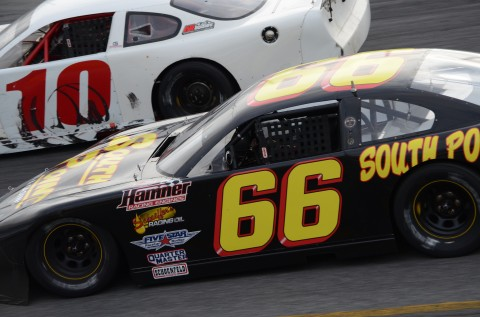 Steve Wallace (66) racing George Gorham, Jr.   Wallace finished 4th and Gorham 13th.  (RODNEY MEYERING RSEN)