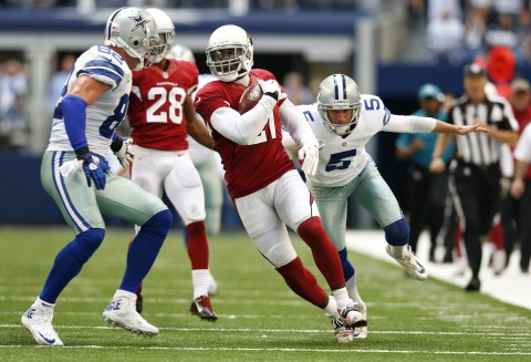 The Cardinals and Patrick Peterson (21) shut down the Cowboys this week 28-17.  Above, Peterson returns a block field goal attempt on the last play of the first half to preserve a 14-10 halftime lead for Arizona. Dallas Cowboys kicker Dan Bailey (5) and tight end Jason Witten (82) can't stop Peterson before he returned it 60 yards. (USA TODAY Sports / Matthew Emmons)