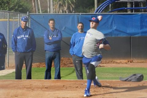 "Jeff Hoffman threw his fourth bullpen session on Friday January 16, 2015 at the Blue Jays Mattick Complex. The Jays first pick in the 2014 June Draft even after having ""Tommy John Surgery"" in May Hoffman threw 20-pitches off the mound.  During his warm up session on flat ground he also snapped off a half a dozen breaking balls. Looking on is the Jays coaching staff of (L-R) Dane Johnson Jays Bullpen Coach, Jeff Ware Pitching Coach Class-A Lancing, Vince Horsman Pitching Coach Class-A Dunedin and Hoffman (EDDIE MICHELS / PHOTO)"