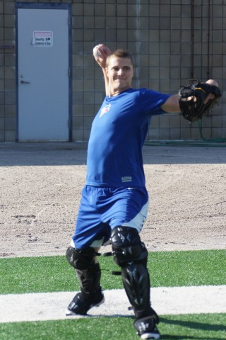 The Blue Jays other first round pick in the June 2014 Draft, Max Pentecost (shoulder) appears to be throwing free and easy at the team's Mattick Complex.  Pentecost also caught Jeff Hoffman's bullpen session and took BP during the last day of workouts for the Blue Jays prospects. (EDDIE MICHELS/PHOTO)