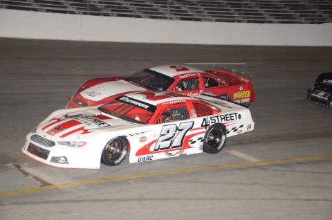 Bobby Good (27) edging out Daniel Keene Jr. Good would get the win after DaltonSargent and William Byron were DQ'd (photo Rodney Meyering)