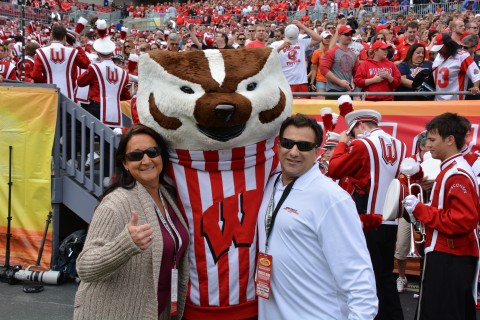 Bucky takes some time with Rick Sassone and the Hockey Hottie (Travis Failey / RSEN)