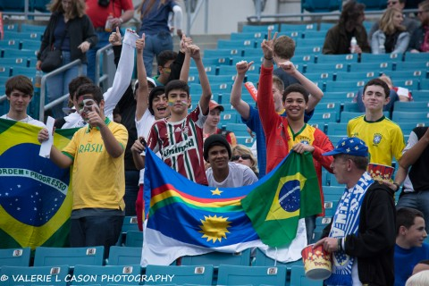 Fans of Brazil's Fluminense showing their soccer spirit and their Country's pride (photo Valerie L. Cason)
