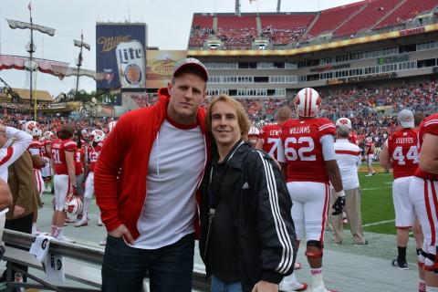 JJ Watt, here with RSEN's Travis Failey, was on hand to see his little brother Wisconsin fullback Derek Watt  (RSEN photo)