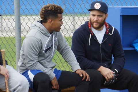 Russell Martin (right) chats with Marcus Stroman.  Stroman a former first rounder was 11-6 with a 3.65 ERA  with the Blue Jays in 2014.  Martin a former 17th rounders with start his 10 MLB season and first with Toronto.  Martin has 119 career homers and 540 RBI with a .265 batting average.  Martin drafted by the LA Dodgers in 2002 played 5 seasons with the Dodgers followed by two with the Yankees and the last two with the Pittsburgh  Pirates (EDDIE MICHELS PHOTO)