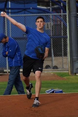 Aaron Sanchez throws a bull pen session today in Dunedin (EDDIE MICHELS PHOTO)