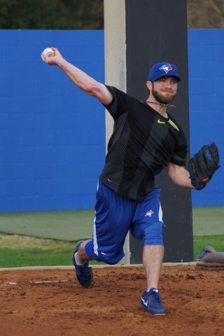 Kyle Drabek bull pen session (EDDIE MCIHELS PHOTO)