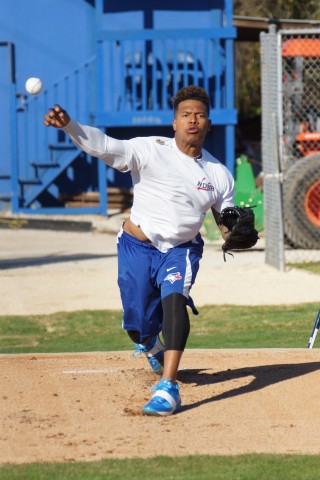 The start comes from Marcus Stroman (pictured) and the stop(er) will come from Aaron Sanchez as rumored in Blue Jays circles.  So far this early spring the two leave the club house together, play long toss together then throw bullpen sessions together about three pitching rubbers apart. (EDDIE MICHELS/PHOTO)
