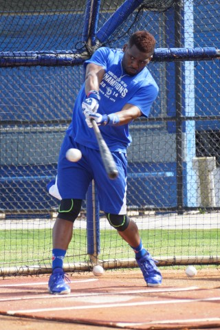 Dwight Smith Jr. son of former major leaguer Dwight Smith Sr. takes batting practice at the Mattick Complex.. (EDDIE MICHELS PHOTO)