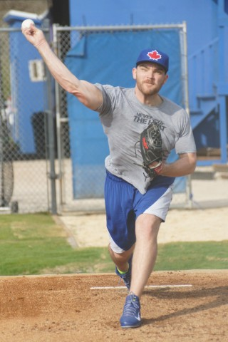 "Perth, Australian right-hander Liam Hendriks throws his first bullpen session on Tuesday February 17, 2015.  ""I felt good,"" sent Kendriks afterwards, ""I'm in the zone.""  Between the end of the 2013 season till the end of the 2014 season Hendriks was property of the Cubs, Twins, Orioles, Blue Jays, Royals and finally the Blue Jays again. (EDDIE MICHELS/PHOTO)"