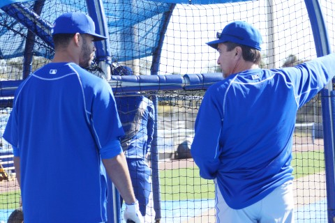 Dalton Pompey (L) and new Blue Jays hitting coach Brook Jacoby talk hitting during the first batting practice session this spring at Florida Auto Exchange Stadium. (EDDIE MICHELS/PHOTO)