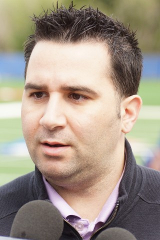 "Toronto Blue Jays GM Alex Anthopoulos spoke on Friday, the team's first full squad workout about the deal that landed former two time Cy Young winner Johan Santana.  ""It's a no risk deal,"" said Anthopoulos of Santana who hadn't pitched in the majors since 2012, ""We don't have anything to lose here.""  The Jays will have an intra squad game on Monday March 2nd but the site has yet to be determined. (EDDIE MICHELS/PHOTO)"