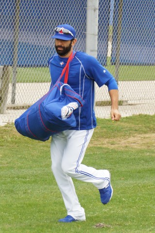 Jose Bautista a Bit Late for First Team Workout and Running  (EDDIE MICHELS PHOTO)