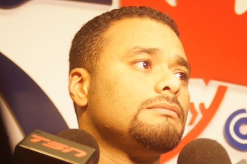"Former two time CY Young winner Johan Santana likes what he sees since signing a minor league contract with the Toronto Blue Jays February 26th. .""I'm excited to get back into baseball, I'm in a good situation here,"" said Santana, ""Now I have just got to set down and see what type of program to have.""  As to how soon he will be able to get back on the mound Santana said, ""It' will take two weeks to understand where we are at.""  Santana hasn't appeared in a major league game since 2012 complying a 139-78 record with a 3.20 era for the Twins and Mets from 2002 through 2012. (EDDIE MICHELS/PHOTO)"