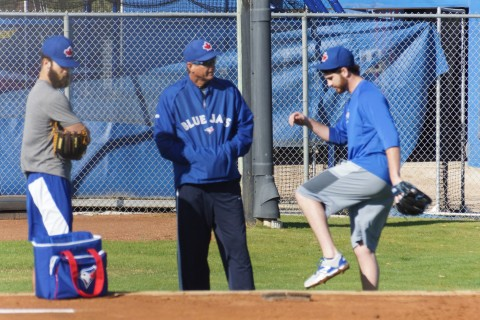 Drew Hutchinson (left) gets a bit of one-on-one instruction from Toronto Blue Jays Bullpen coach Dane Johnson on Friday February 6th at the team's Mattick as LHP Daniel Norris looks on.  The team's first workout for pitchers and catchers is scheduled for February 23rd. (EDDIE MICHELS/PHOTO)