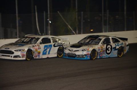 Kaz Grala [3] on the inside of Kyle Benjamin.  Benjamin finished 5th and Grala 18th.  (photo Rodney Meyering / RSEN)