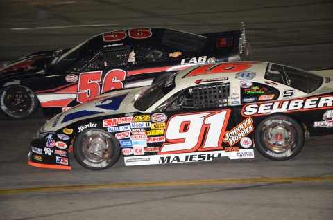 Ty Majeski [91] races Gus Dean.  Majeski finished 7th while Dean 9th.   (photo Rodney Meyering / RSEN)