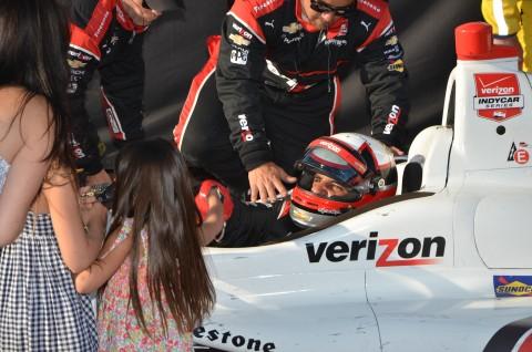 Juan  Pablo Montoya has his beautiful family waiting in the winner's circle (photo Rodney Meyering  / RSEN)