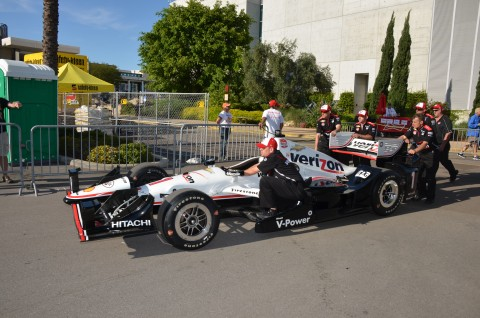 Will Power pulling into the paddock after the Sunday warm-up (photo Rodney Meyering  / RSEN)