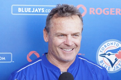 "Toronto Blue Jays manager John Gibbons took his press conference inside on Saturday because of heavy rains in the area.  ""We got done what we needed to get done"", said Gibbons as the team used the indoor batting and pitching faculties at both the stadium and minor league complex. (EDDIE MICHELS/PHOTO)"