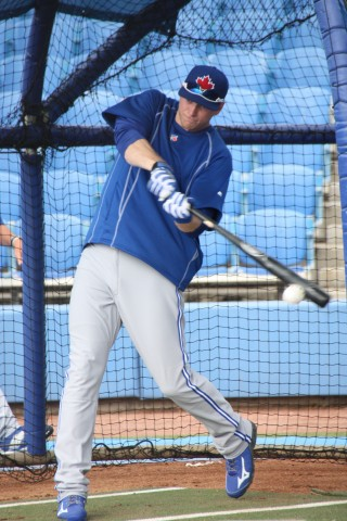 Michael Saunders in the cage and again has no problems including taking grounders and fly's in the outfield (EDDIE MICHELS PHOTO)
