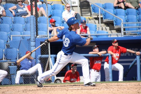 Toronto native Marcus Knecht hit a sacrifice fly to right in the eight as the Toronto Blue Jays (SS) beat the Canadian National Junior Team 17-3 today.   (EDDIE MICHELS PHOTO)