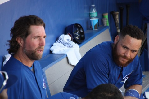RA Dickey (left) and Russell Martin after five complete innings (EDDIE MICHELS PHOTO)
