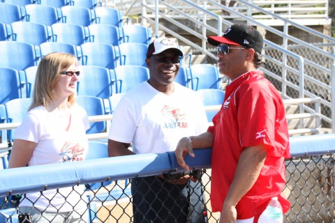 (FROM EARLIER IN THE WEEK) Hall of Fame 2B Robbie (L) chats with Ken and Valerie Pompey parents of Jays outfielder Dalton and his younger brother Tristan who plays for (U18) Team Canada. (EDDIE MICHELS/PHOTO)