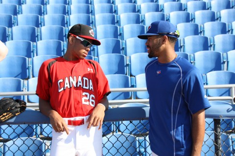Dalton Pompey (right) gets to spend some time with Canadian Junior National player and brother, Tristan  Pompey (EDDIE MICHELS PHOTO)
