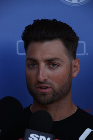 Toronto Blue Jays outfielder Kevin Pillar announced Sunday morning that he had a slight oblique strain.  He said he would be taking a week off then have it reevaluated. (EDDIE MICHELS/PHOTO)..