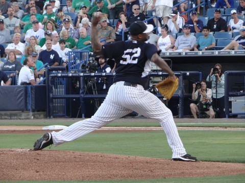 Starting Yankee Sabathia in the first inning. (EDDIE MICHEL PHOTO)