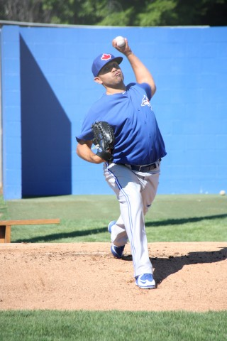 Ricky Romero throws a bull pen session early on St. Patrick's Day (EDDIE MICHELS PHOTO)