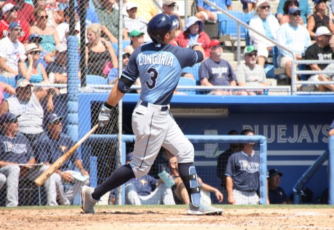 Evan Longoria was 2 for 3 on the day including this solo HR.   (EDDIE MICHELS PHOTO)