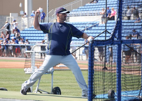 Rays first year manager and former Blue Jay Kevin Cash, throws BP (EDDIE MICHELS PHOTO)