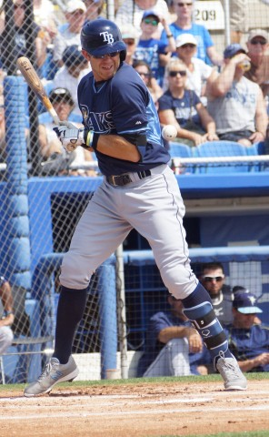 Evan Longoria felt the sting of a Roberto Osuna fastball in the top of the first taking one for the team on the inside left arm/lower left rib cage.  Longoria was left stranded at first. (EDDIE MICHELS/PHOTO)
