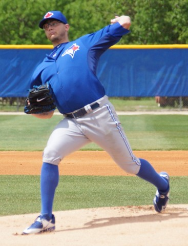 Toronto Blue Jays closer Brett Cecil threw another inning on Tuesday allowing two hits and walked none.  He struck out one on 15-pitches in a Class-A game against a Yankee minor league squad. (EDDIE MICHELS PHOTO)