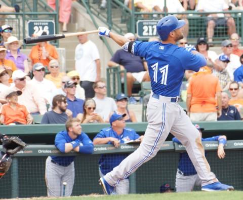 Kevin Pillar's 6th inning home run.(EDDIE MICHELS PHOTO)
