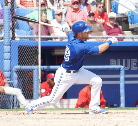 Steve Tolleson hits his third homer of the the spring (EDDIE MICHELSD PHOTO)